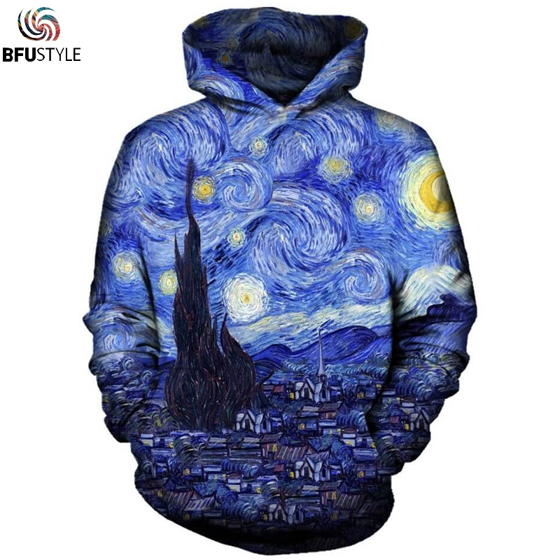 Starry Night Hoodie Sweatshirt Men Women New Fashion Autumn Winter Pullover Hoody Tops Casual 3D Sportswear Tracksuit