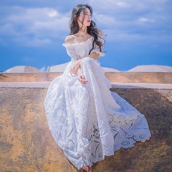 White Lace Dress Slash Neck Hollow Flower Princess Nightdress Retro Elegant Woman Long Nightgowns Summer Short Sleeve QZ956 lace panel lantern sleeve nightdress