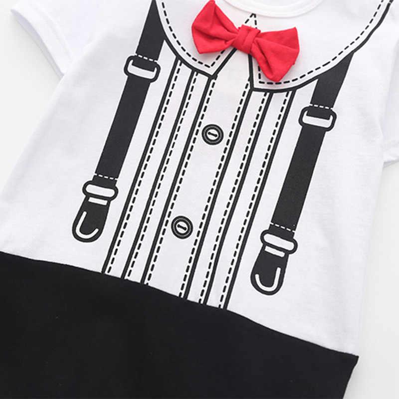 Одежда для новорожденных и маленьких мальчиков и девочек; летние комбинезоны в полоску с короткими рукавами для малышей; торжественные костюмы с бантиком; костюм для младенцев; От 0 до 2 лет