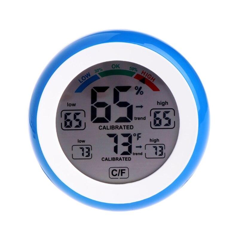 Display lcd interior termômetro higrômetro redondo medidor de umidade estação meteorológica