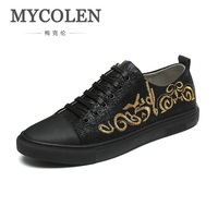 MYCOLEN Summer Men Canvas Shoes 2018 Fashion Solid Color Men Embroidery Shoes Lace Up Black Casual Shoes Men Sneakers Zapatilla