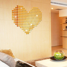 Free shipping Heart shape Acrylic Mirror Wall sticker Art DIY wall sticker for Kids room Living room bedroom 3d wall decoration high quality removeable lip shape diy 3d mirror wall sticker