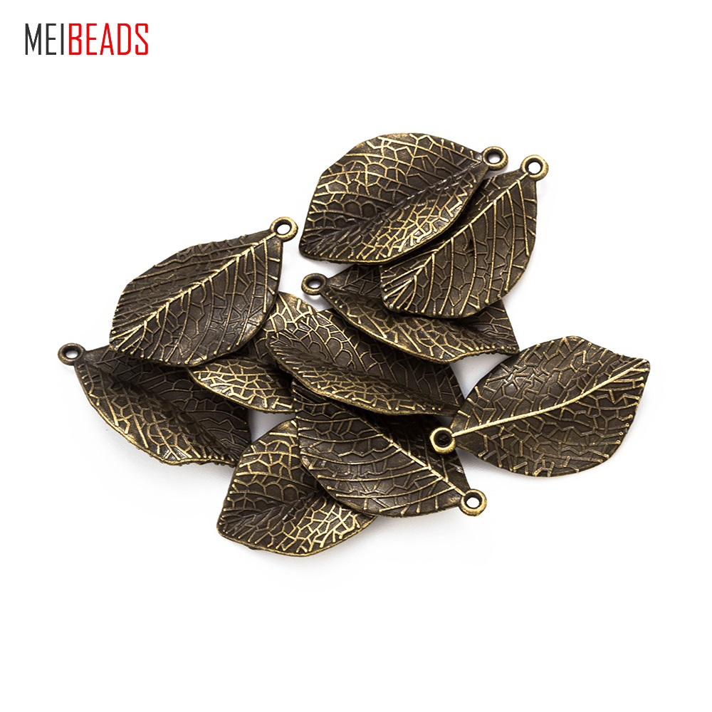 MEIBEADS 10pcs Hot Sale Bronze Leaf Pendant Natural Real Leaf Dipped Long Leaf Necklaces&Pendants Jewelry Accessories UF7132