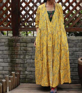 Women s Vintage Floral Print Irregular Hem Linen Cotton Dresses plus size cloths wholesa ...