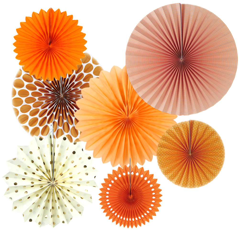 Set Of 7 Orange Theme Diy Paper Crafts Fans Rosettes Photo Backdrop For Birthday Wedding Baby Shower Party Hanging Decor In Decorations From