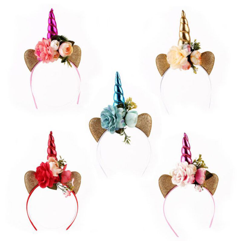 Lovely Newborn Baby Kids Headband Infant Flower Toddler Bow Hair Band Girls Party Accessories Unicorn Headwear