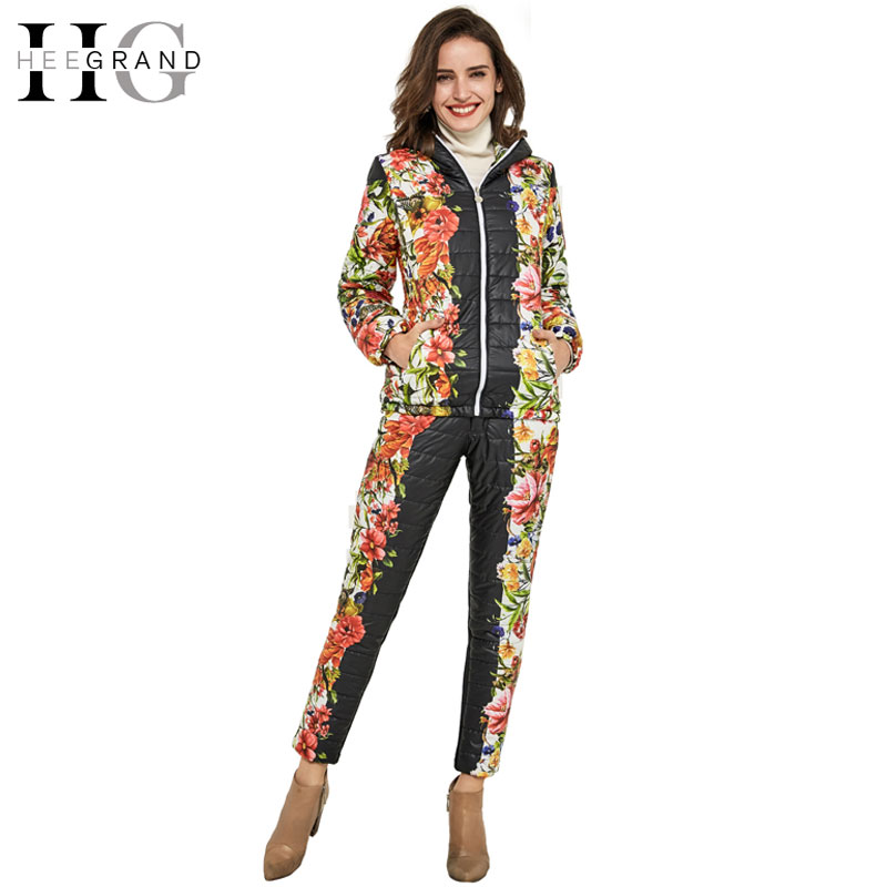 ФОТО HEE GRAND  Winter Jacket Women Casual Flower Printed Hooded Warm Basic Parka Suits Coat+Pants Sets Outwear WAT270