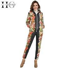 HEE GRAND 2016 Winter Jacket Women Casual Flower Printed Hooded Warm Basic Parka Suits (Coat+Pants Sets ) Winter Outwear WAT270