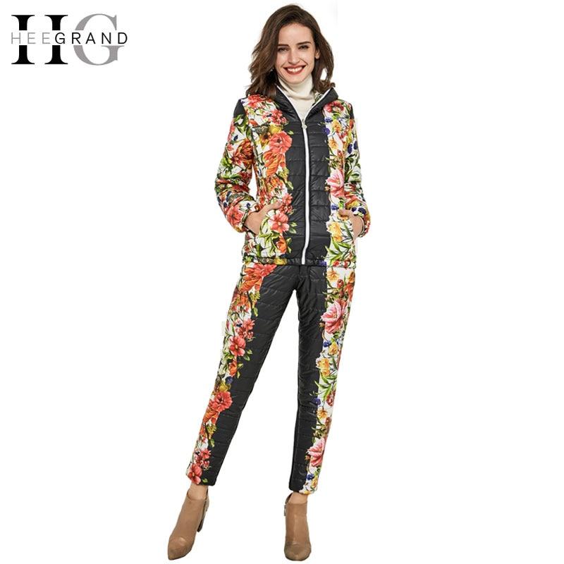 Hee Grand/2018 г. зимняя куртка Для женщин Повседневное с цветочным принтом с капюшоном Теплый основной парка Костюмы (пальто + Брюки для девочек Н...