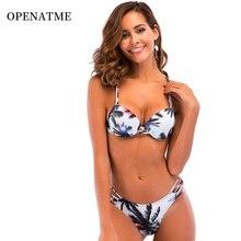 OPENATME Bikini 2019 Strap Backless Womens Swimsuit Palm Print Beachwear Set Sexy Push Up Female Bathing Swimwear Women