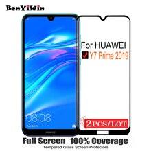 2 PCS 100% Originele Volledige Cover Gehard Glas voor Huawei Y7 Prime 2019 9 H Screen Protector Beschermende Film Voor DUB L21 L22 Glas