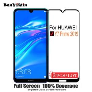 Image 1 - 2 PCS 100% Originele Volledige Cover Gehard Glas voor Huawei Y7 Prime 2019 9 H Screen Protector Beschermende Film Voor DUB L21 L22 Glas