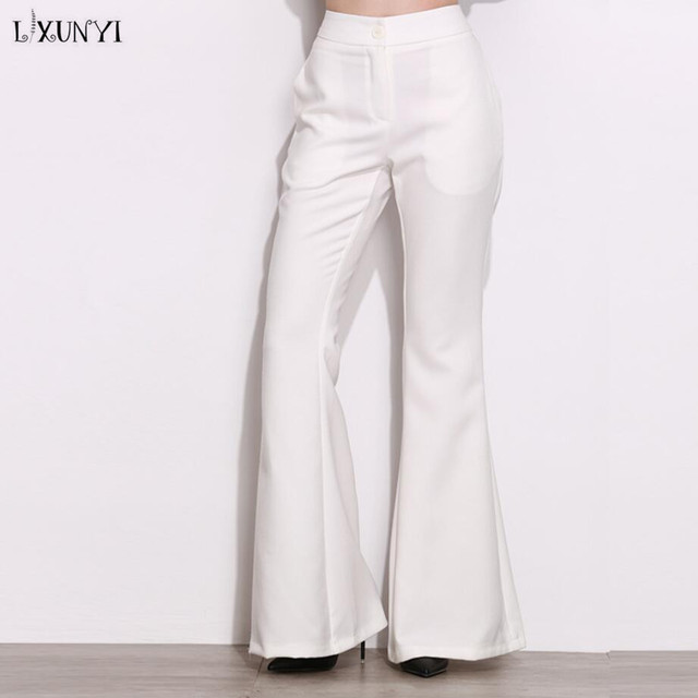 11f0c6f6057c LXUNYI High Waist Flare Trousers Women High Quality Spring Summer 2019 OL Formal  Loose Wide leg Pants Office Casual Pants White