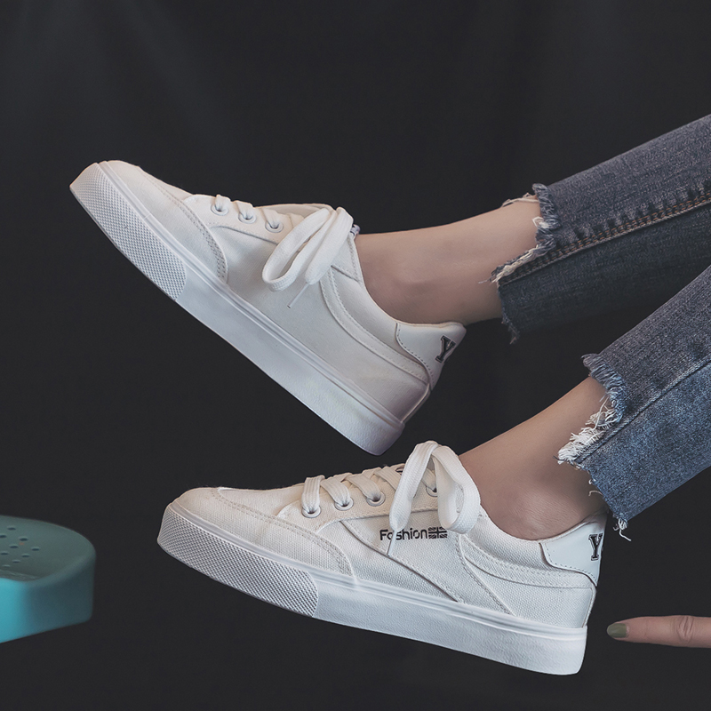Fashion Style Women Canvas Vulcanized Shoes Simple Design Anti-Skid Sneakers for Female Comfortable Wear Resistant Casual Shoes 2