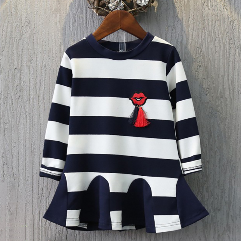 2018 Striped Princess Dress A-line Dresses Girl Winter Clothes Baby Long Sleeve Dress Little Girls Dresses For Party And Wedding raglan sleeve striped ringer dress