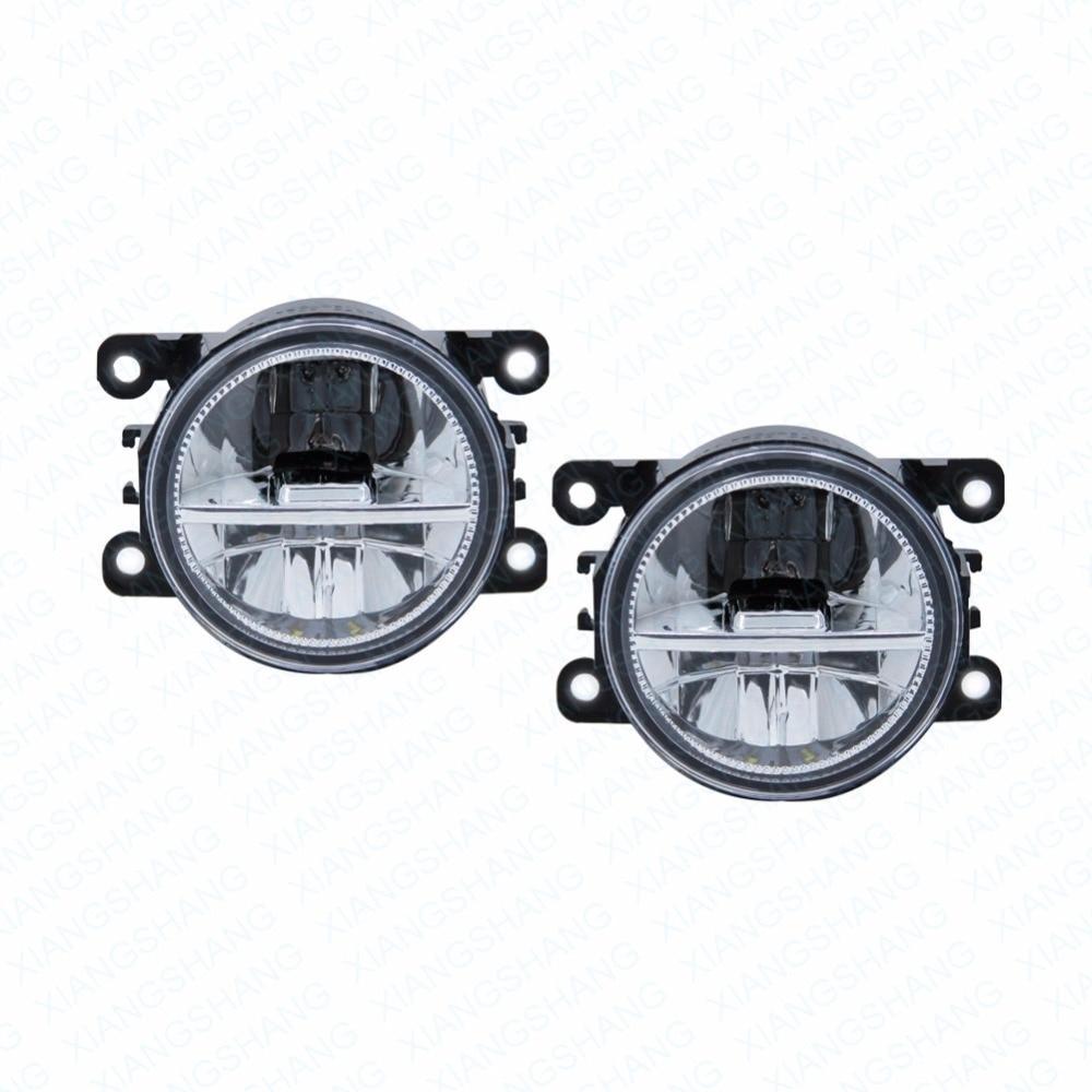 ФОТО 2pcs Car Styling Round Front Bumper LED Fog Lights DRL Daytime Running Driving fog lamps  For Navara D40 Pickup  2005-2014 2015