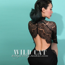 FREE SHIPPING Vintage Sexy Elegant Big Racerback Stand Collar Tight Fitting One-piece Backless Lace Short Slim Dress Women