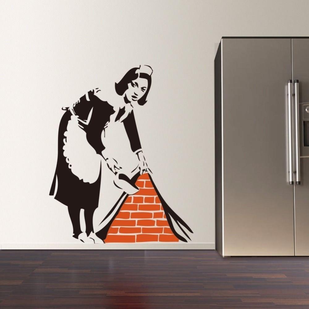 Graffiti wall vinyl - 2016 New Banksy French Maid Vinyl Wall Decal Sticker Street Art Graffiti Kitchen Wall Sticker Removable