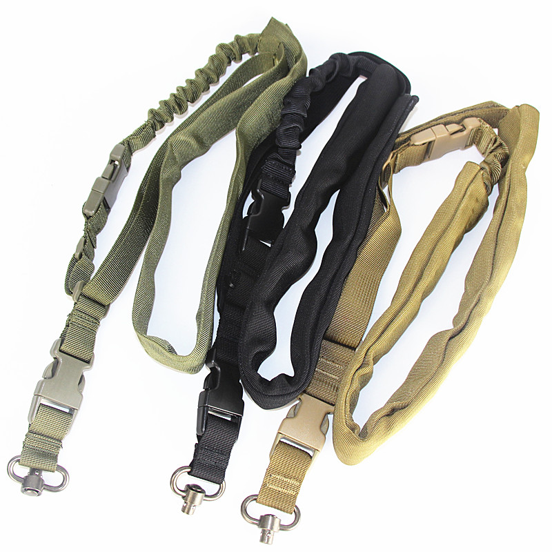 Tactical One Point Gun Point Sling Hunting Adjustable Bungee Rifle Single Point Nylon Gun Sling Strap System With Spring Buckle