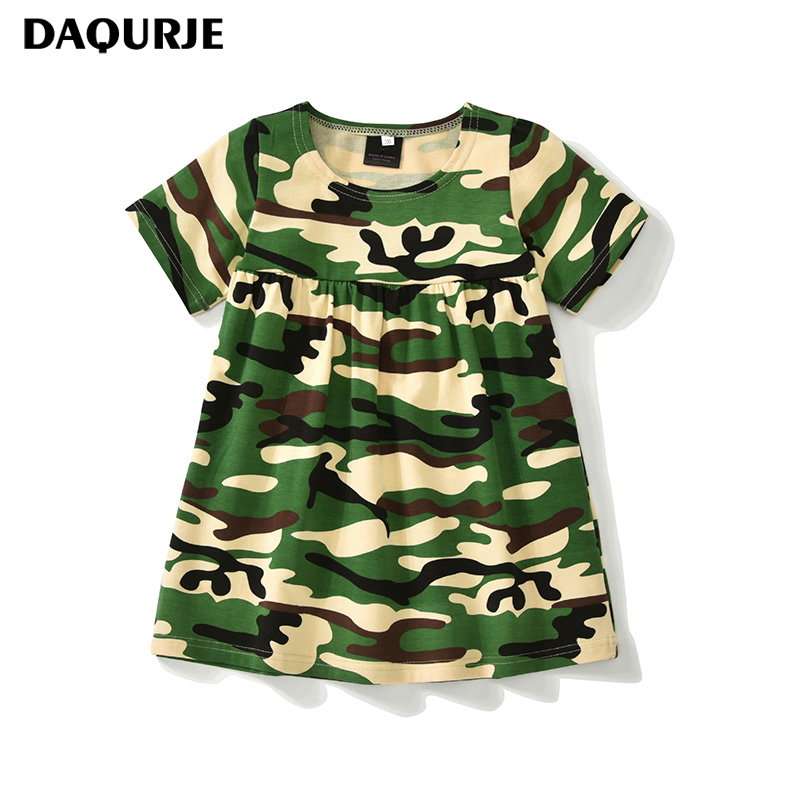 DAQURJE Summer Girls Dress 2018 Brand Casual Short Camouflage kids dresses for Girl Clothes Dresses Party And Wedding Clothes
