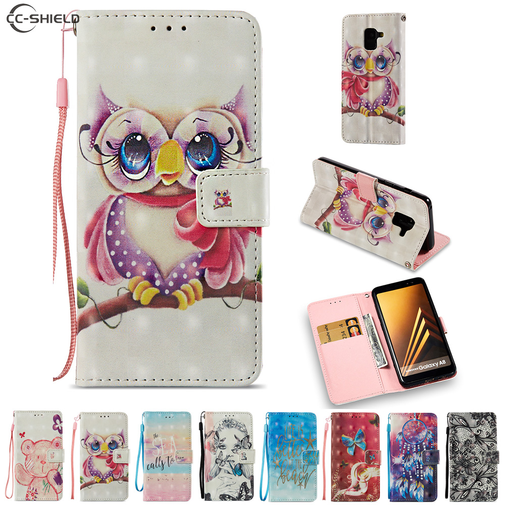 Cartoon Case for Samsung Galaxy A8 2018 A530F A530F/DS SM-A530F SM-A530F/DS Cute Bear Owl Cartoon PU Leather Flip Stand Cover