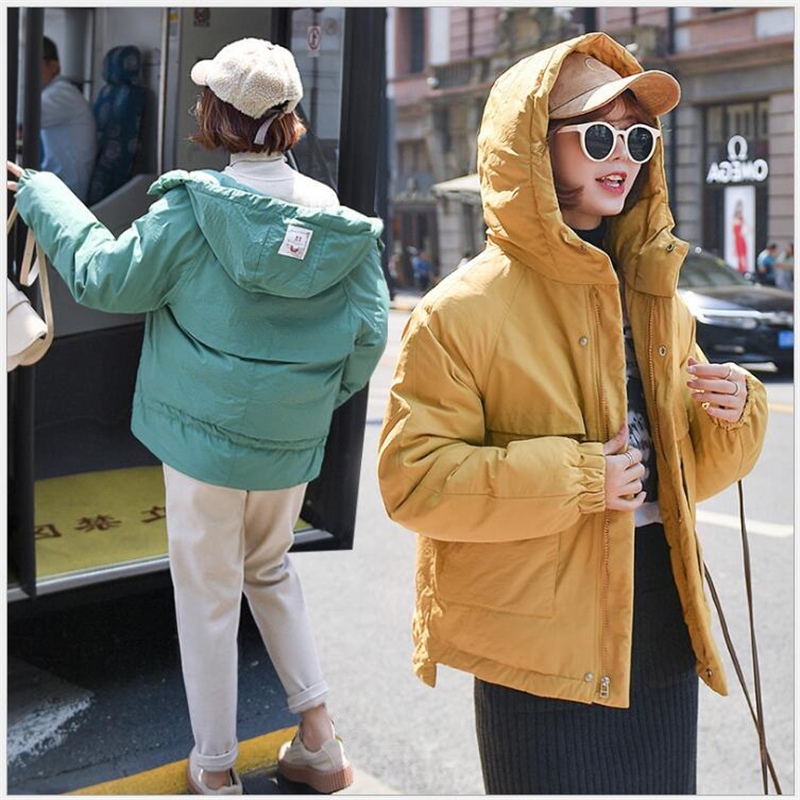 six Color Solid Women   Parkas   Hooded cotton Padded women jacket Winter Thick Fashion Bread coats female outwear 179