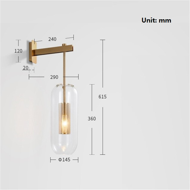 American Style Modern LED Wall Lamp Home Wall Sconce Gold Iron Glass Bedside Wall Light Fixtures Art Decor Indoor Lighting