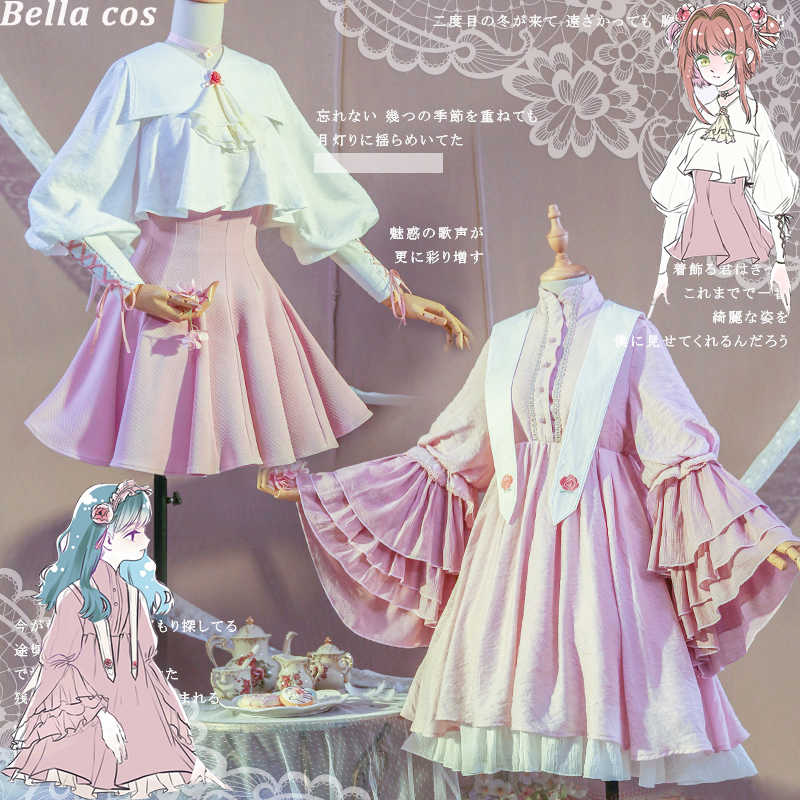 Nouvelle carte chaude captor Kinomoto Sakura/Tomoyo Daidoji cosplay costume rose quotidien lolita robe uniforme Anime vêtements tenues cos