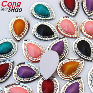 Cong Shao 100pcs 13*18mm Colorful Drop Shape flatback Resin Rhinestone trim stones and crystals DIY Wedding Dress Button CS22