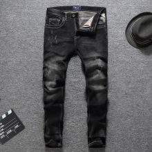 Black Color Slim Fit Fashion Men Jeans High Quality Cotton Long Pants Classical Jeans Balplein Brand Ripped Jeans Men Size 29-38 купить недорого в Москве