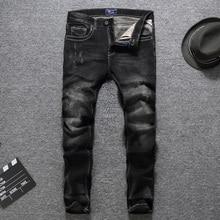 Black Color Slim Fit Fashion Men Jeans High Quality Cotton Long Pants Classical Jeans Balplein Brand Ripped Jeans Men Size 29-38