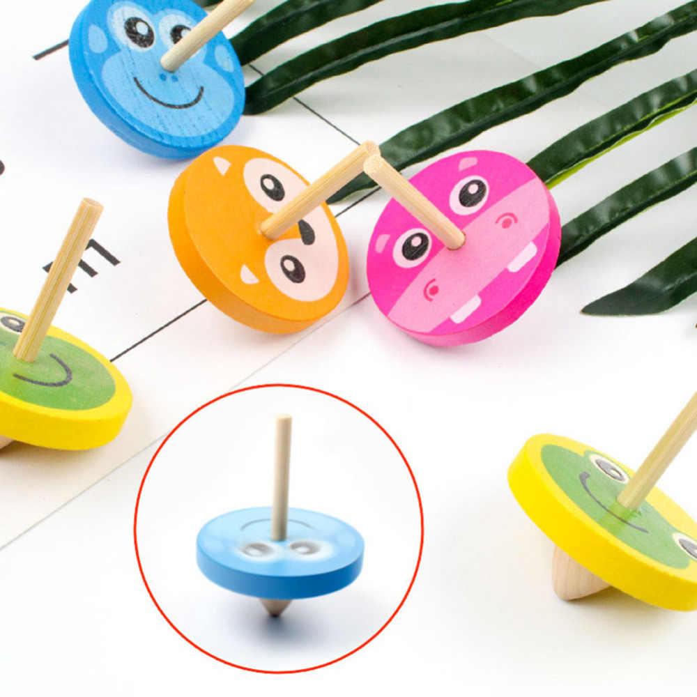 1pc ילדים עץ ג 'יירו צעצועים לילדים למבוגרים הקלה מתח שולחן העבודה סביבון צעצועי ילדי יום הולדת חג המולד מתנות אקראי צבע
