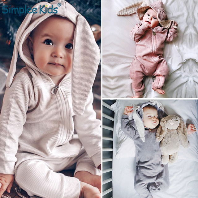 Newborn Baby Girls Boys Clothing Romper Cotton Long Sleeve Jumpsuit Playsuit 2019 Spring Bunny Outfits One piecer 3D Ear Clothes