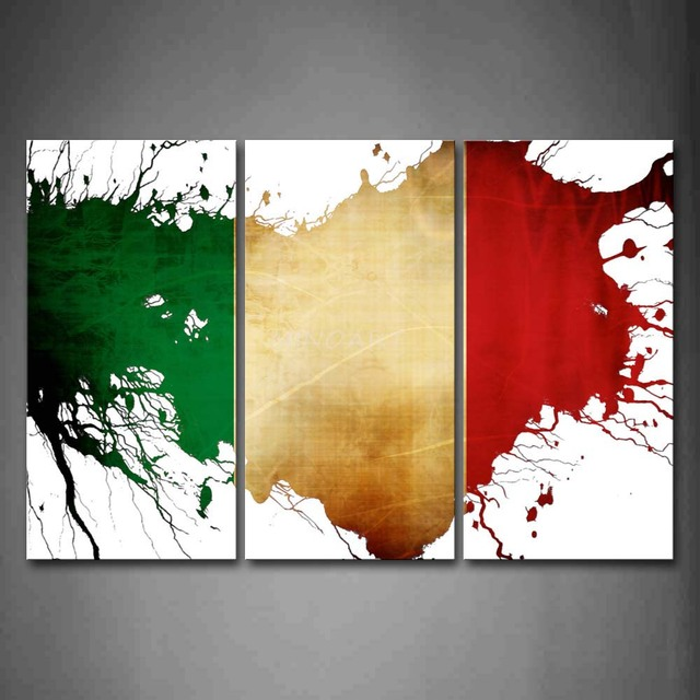 3 Piece Wall Art Painting Green White And Red In Flag Of Italy Print ...