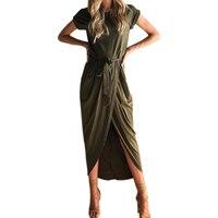 Casual Irregular Maxi Dress Women Short Sleeve Split Long Dress Summer 2017 Solid Office Dresses Vestidos