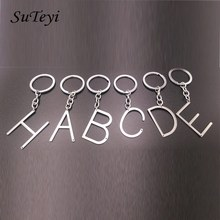 Personalized 26 Letters Keychain DIY Name Silver Color Car Bag Key Chain Metal Keychains For Women Men Jewelry Accessories(China)