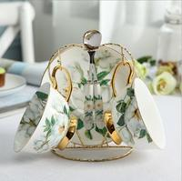 Pastoral Flower Bird Bone China Tea Cup Saucer Spoon Set 250ml British Cafe Porcelain Coffee Cup Advanced Ceramic Teacup