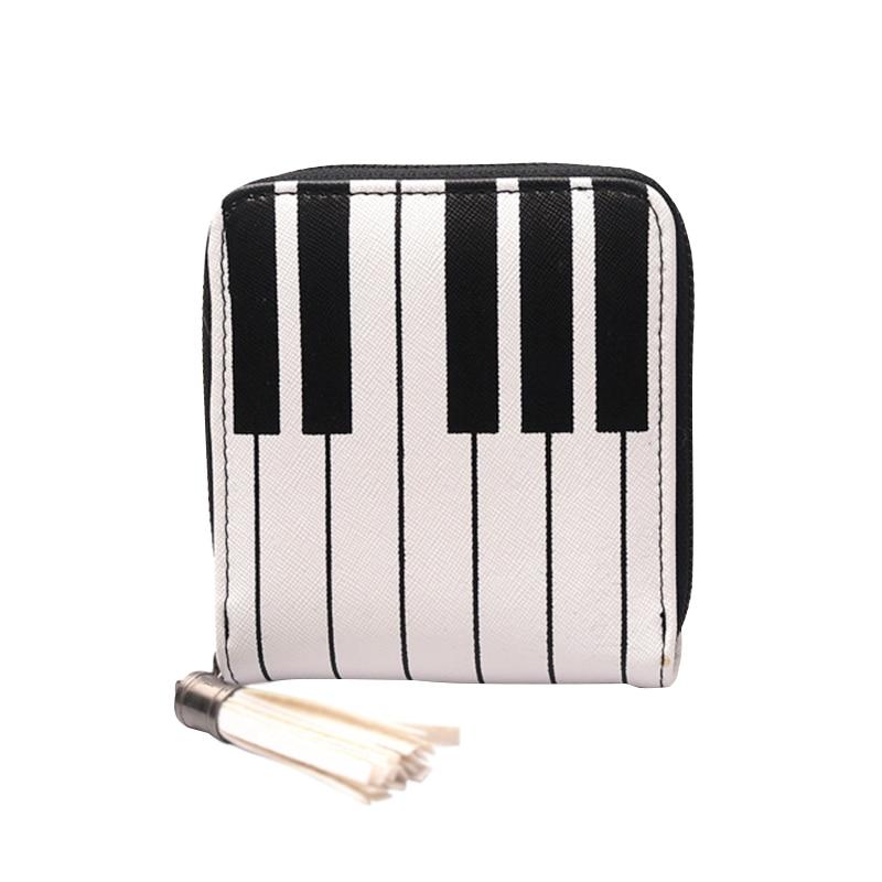 Fashion Women Piano Key Pattern Print Short Wallet Money Purses Zipper PU Leather Credit Card Holder Bag Ladies Coin Purse