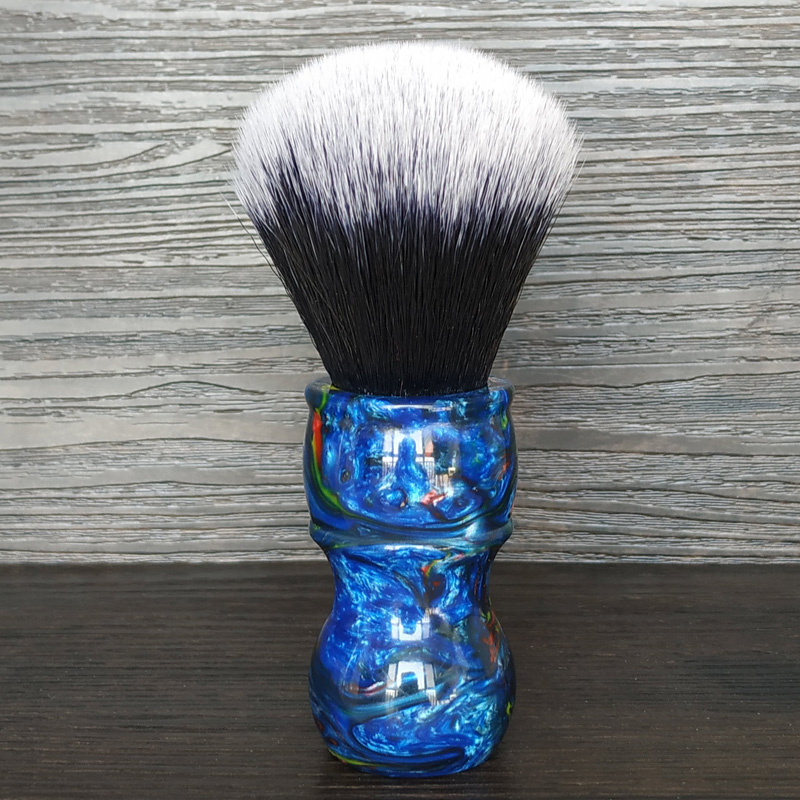 Dscosmetic 24MM Tuxedo Synthetic Hair Knots Shaving Brush With Blue Galaxy Resin Handle For Man