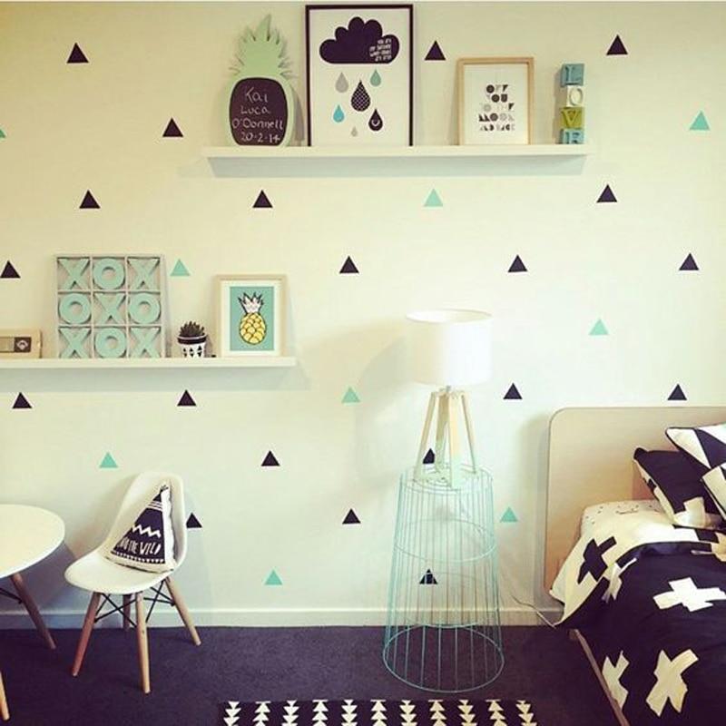 Diy 60 шт. небольшие треугольники съемный виниловые обои питомника младенца спальня дети детских комнат домашнего декора 56 X 30 см