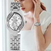 Elegant Quartz Analog Watch For Women Fashion Silver Leaf Shape Pattern Watches Premium Gold Alloy Belt With Bracelet Lady Clock