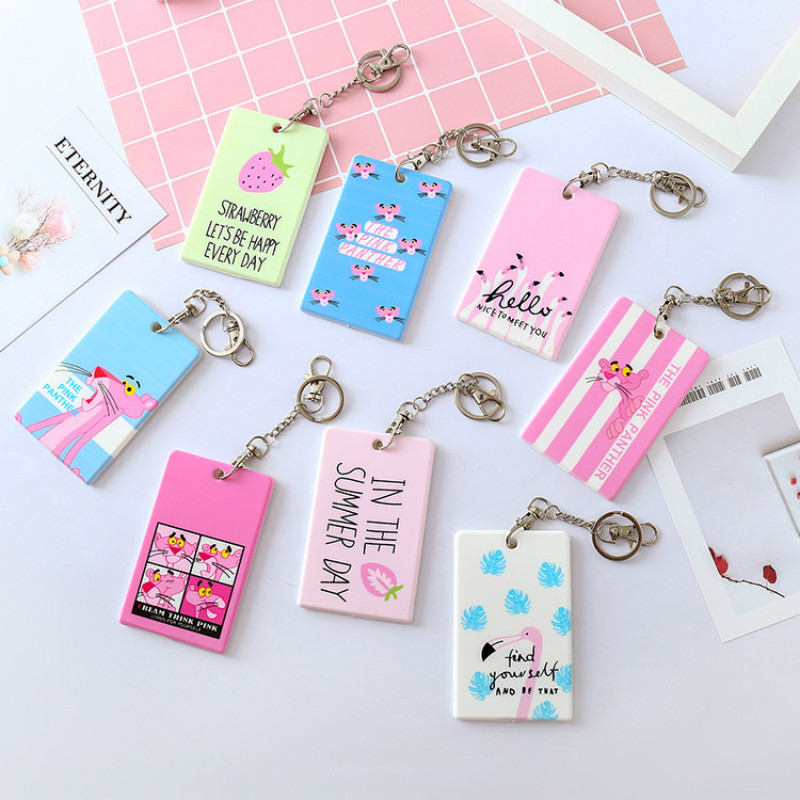 Card-Holder Key-Chain Flamingo Plastic Pink Leopard Lolita Cartoon Women Cute Kids