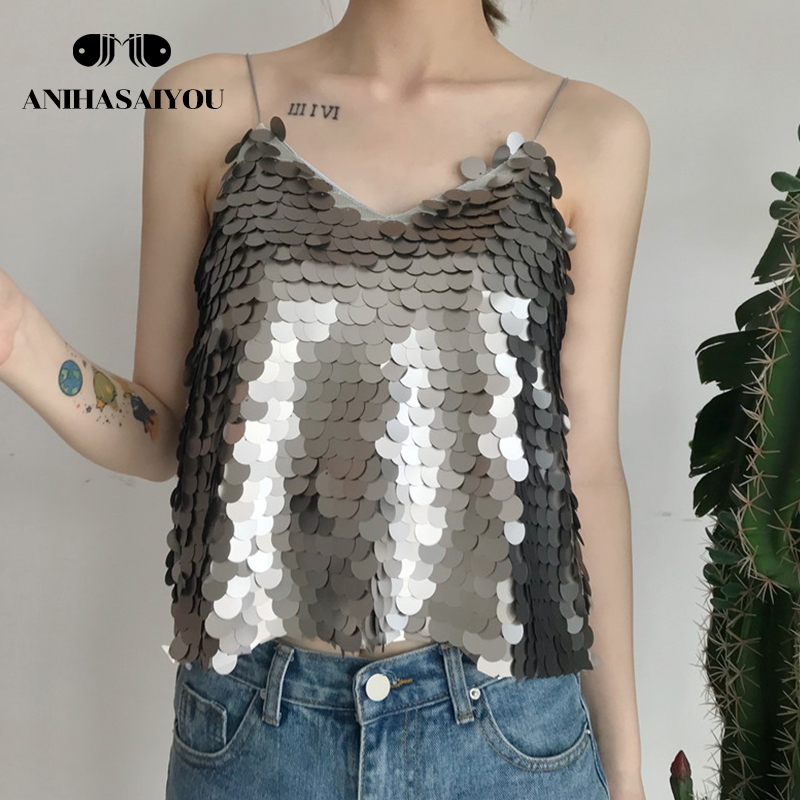 Summer women's crop top new fashion top women personalized glittering V-neck Women's vest tops casual wild short tank top