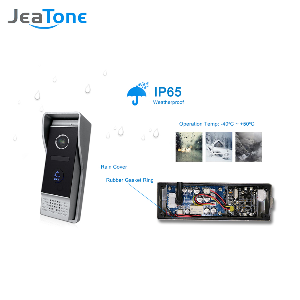 """Image 4 - JeaTone 10"""" 4 wired Door Phone Video Intercom Video doorbell monitor Intercom + Extra 1200TVL Security Camera Waterproof System-in Video Intercom from Security & Protection"""