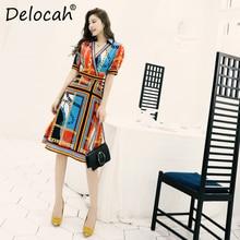 Delocah 2019 Women Spring Summer Dress Runway Fashion Designer Sexy V Neck Print Elegant Midi A Line Dresses