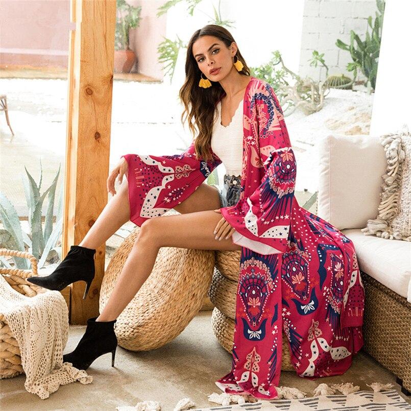 2018 nouveau automne imprimé coton Cardigan couverture extérieure chemise tricotée longue Blouse avec fente Kimono Cardigan Blusas Long manteau