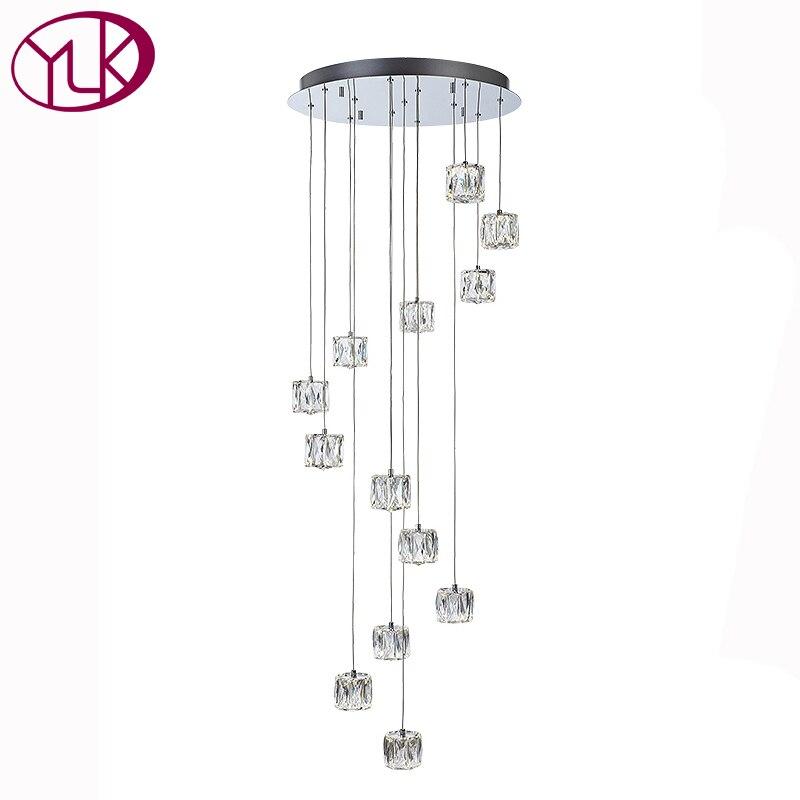 Youlaike Modern LED Chandelier For Living Room Brief Crystal Light Fixture Spiral Flush Mount Indoor Stair Lighting