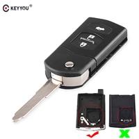 KEYYOU de coche plegable clave Shell para MAZDA 2 3 5 6 RX8 MX5 remoto negro clave Fob caso 3 botones clave coche-estilo