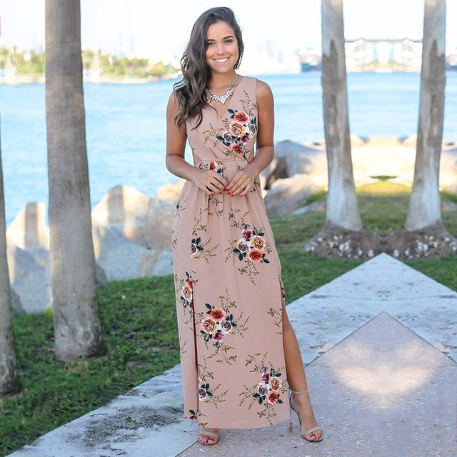 BEFORW 2019 Mulheres Verão Boho Cópia Floral Chiffon Vestido Longo Sem Mangas Sexy Bainha Dividir Maxi Dress Casual Praia Vestidos Vestidos