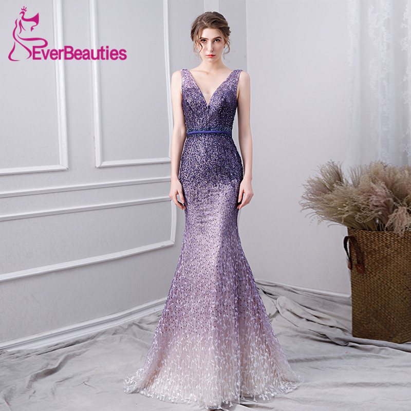 Mermaid   Prom     Dresses   2019 Luxury Beaded Hand-Make Purple Evening Party   Dresses   Vestidos De Gala   Prom   Gown Robe De Soiree